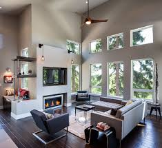 fireplace sofas living space modern home in eugene oregon by