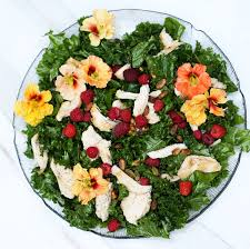 edible flowers raspberry kale salad with edible flowers one armed