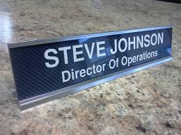 Custom Desk Name Plates by Personalized Carbon Fiber Look Desk Name Plate With Silver