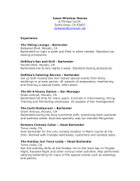 Job Resume Outline by Bartender Resume Example Template Resume Builder