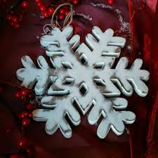 hand carved mango wood snowflake decorations