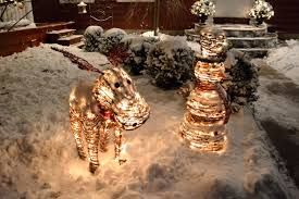 rattan snowman and moose outdoor christmas decorations with white