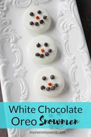 white chocolate oreo snowmen