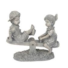 northlight 11 1 2 in boy and on seesaw statue