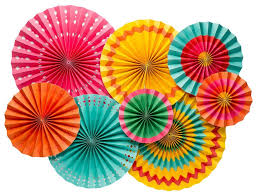 party fans party fans yellow orange pink green mint design my
