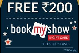 bookmyshow offer woohoo offer get rs 200 worth bookmyshow gift card free on