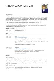 Sample Resume In Doc Format Process Associate Resume Samples Visualcv Resume Samples Database