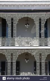 intricate wrought iron balcony railing of robinson house in garden