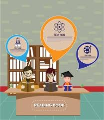 education theme design boy reading book illustration vectors stock