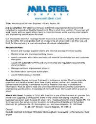 Seeking Description Metallurgical Services Engineer Description By Mill Steel