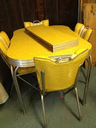 yellow retro kitchen table chairs video and photos