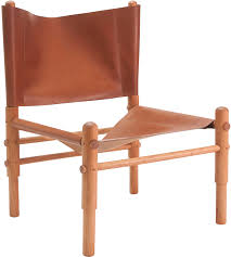 Folding Chair Leather Leather Sling Chair Natural Cherry Workstead Horne