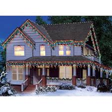 time icicle light set white wire multi bulbs 300 count