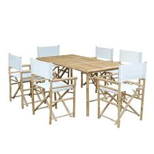Bamboo Dining Room Chairs Zew Set 015 0 Rectangular Bamboo Table And Director Chair 6 Piece