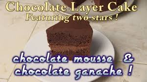chocolate layer cake with chocolate mousse filling and topped with