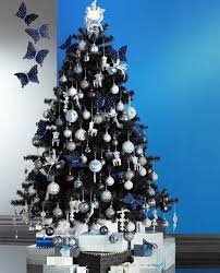 Blue And Silver Christmas Tree - black and silver decorated christmas tree designcorner