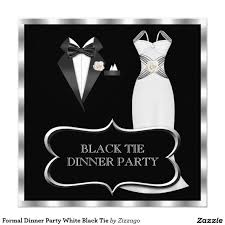 Dinner Party Invitation Card Formal Dinner Party White Black Tie Card Zizzago Invitations