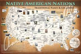 United States Map Poster by United States Native American Nations Map Native Names Only