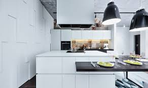 White Marble Kitchen Island Kitchen Modern White Kitchen With 2 Tier Glossy White Marble