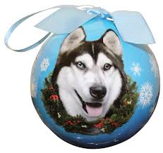 siberian husky ornament shatter proof