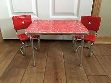 American Girl Molly Red Chrome Dinette Set S Kitchen Table - Red kitchen table and chairs