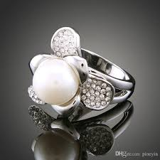 rings large stones images 2018 white k flower large pearl rings cubic zirconia crystal jpg
