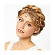 pearl headpiece boho women pearl gold wedding headdress headband