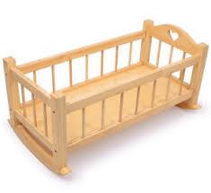 large wooden dolls rocking cradle solid wood crib cot bed toy ebay