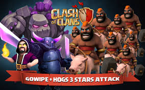 coc wallpaper clash of clans gowipe hog riders 3 stars attack youtube