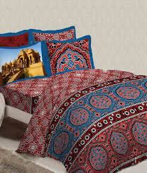 Buy Double Bed Sheets Online India Bombay Dyeing Celebration India Red Double Bed Sheet With 4 Pillow