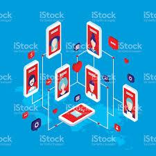 social network concept modern flat isometric design stock vector