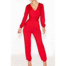 trendy jumpsuits solid color high waisted trendy style v neck sleeve s