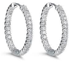 inside out diamond hoop earrings 14k white gold diamond inside out hoop earrings