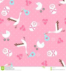 seamless baby shower pattern on pink background stock photo
