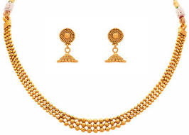 gold plated beads necklace images Jfl gold one gram gold plated gold beads necklace set size 8 cm jpg