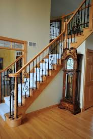 wrought iron stair railings interior home office rustic with area