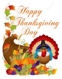 image happy thanksgiving happy thanksgiving day fall harvest cornucopia and pilgrim turkey