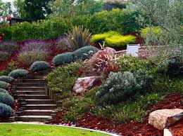 Slope Landscaping Ideas For Backyards Hillside Landscaping With Mulches And Steps Outdoor Hillside