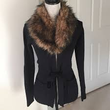 sweater with faux fur collar 62 h m sweaters h m cardigan with removable faux fur collar