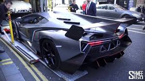 lamborghini pickup truck lamborghini veneno arrives in london for christmas youtube