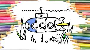 drawing boat submarine coloring pages kids coloring