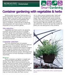 Good Garden Vegetables by Container Gardening With Vegetables U0026 Herbs Tip Sheet Msu Extension