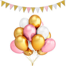 gold pink and white party balloons 24 birthday balloons