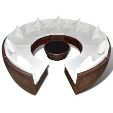 canape forme ronde canapé rond d extérieur avec table basse polyrotin marron achat