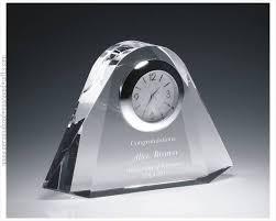 engraved crystal clock miami deco