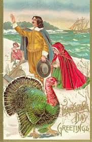 vintage graphics thanksgiving cards featuring pilgrims