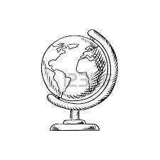 modern globe with continents oceans and seas on desktop stand