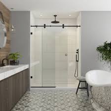 dreamline enigma x 56 in to 60 in x 76 in frameless sliding dreamline enigma x 56 in to 60 in x 76 in frameless sliding shower door in brushed stainless steel shdr 61607610 07 the home depot