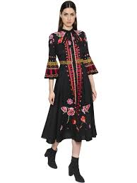 temperley london temperley london floral embroidered cotton gauze dress black women