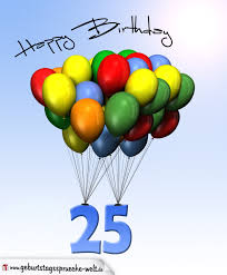 geburtstagssprüche 35 geburtstagskarte mit luftballons zum 25 geburtstag